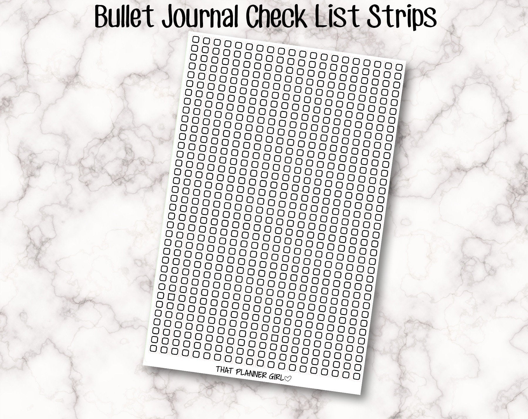 Bullet Journal Check list Strips - Perfect for 5mm grid!