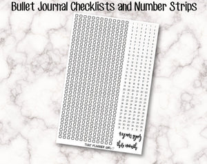 Bullet Journal Number and checklist Strips - Perfect for 5mm grid