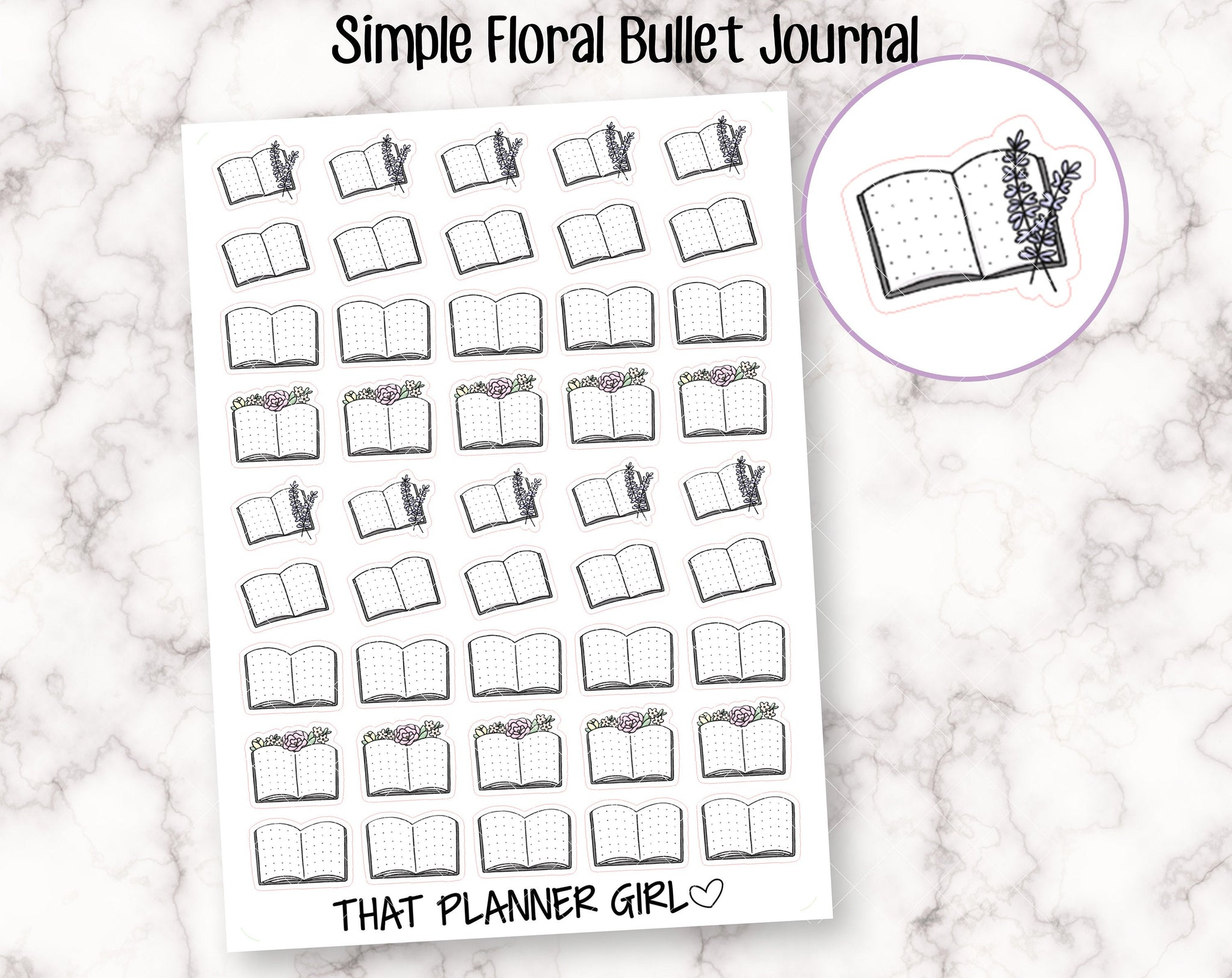 Simple Floral Bullet Journal Stickers