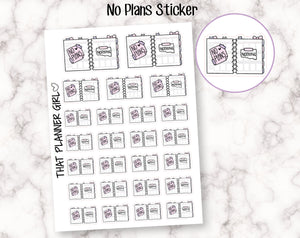 No Plans planner spread Stickers