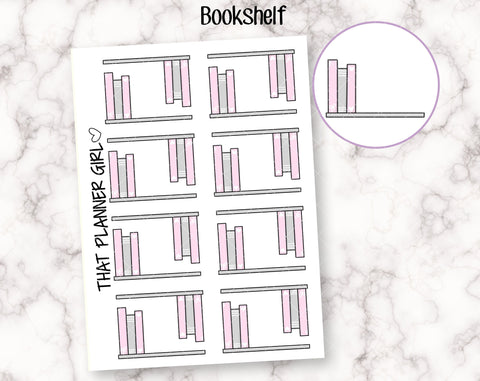 Book Shelf Doodle Sticker - Mark reading, currently reading, study, school, e-book etc - Hand Drawn Doodle Planner Stickers