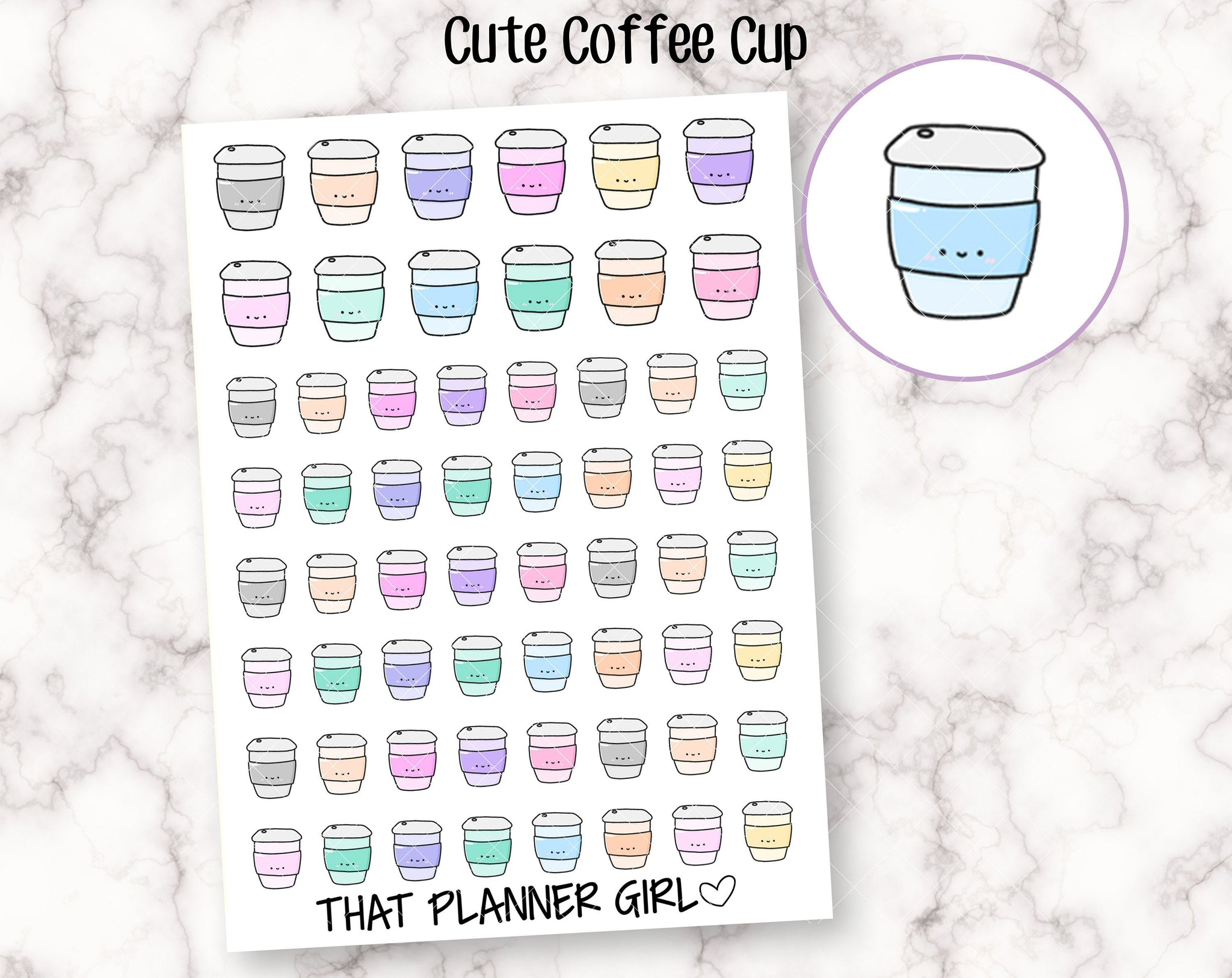 Adorable Coffee Cup Doodle Sticker