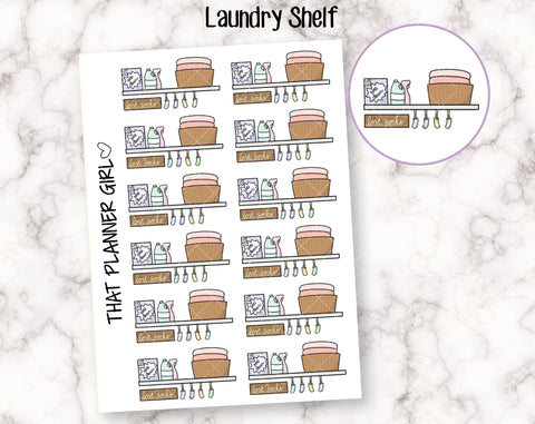 Laundry Day Shelf - Mark washing, laundry, folding, cleaning etc - Hand Drawn Doodle Planner Stickers
