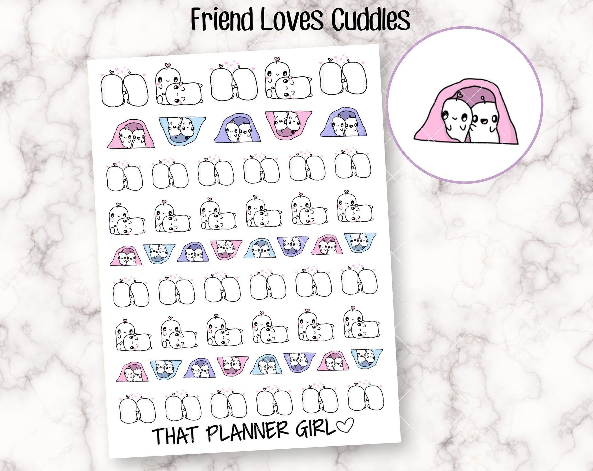 Friend Loves Cuddles Doodle Stickers