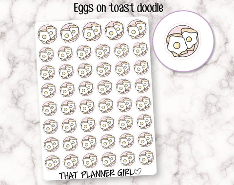 Eggs on Toast Doodle Stickers
