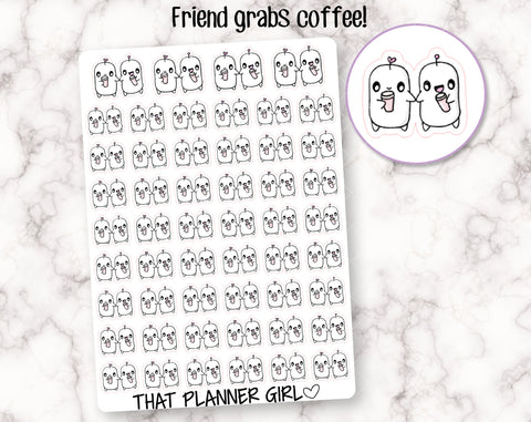 Friend Grabs Coffee Stickers