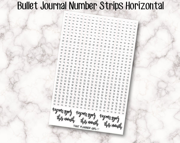 Bullet Journal Number 1-31 Strips - Perfect for 5mm grid