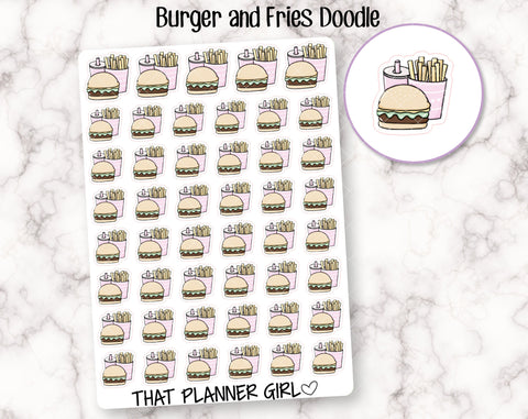 Burger and Fries Doodle Stickeres