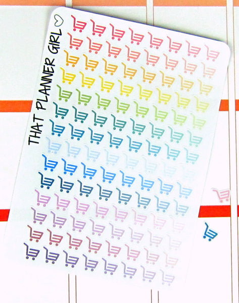 Shopping Cart / Basket Small Ombre Stickers
