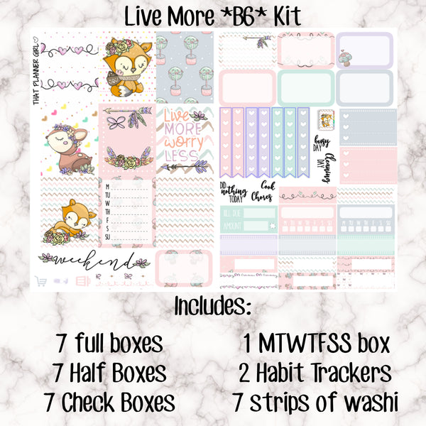 Live More - Weekly Kit for the Number 5 Foxy Fix or B6 Planner -Folds to fit in your TN! EC sized boxes!