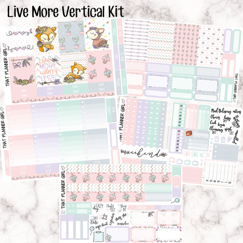 Live More - VERTICAL weekly kit - Individual sheets or full kit!! Erin Condren Style Planner Stickers