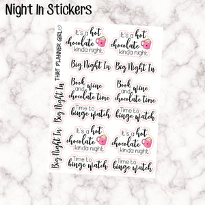 Night In / Hot Chocolate Stickers