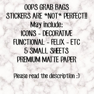 OOPS GRAB BAGS!! These stickers are **not** perfect! Please read the description!! Stickers sold as is, no refunds or returns!