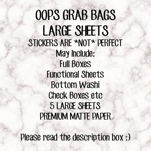 LARGE EC SIZED OOPS GRAB BAGS!! These stickers are **not** perfect! Please read the description!! Stickers sold as is, no refunds or returns!