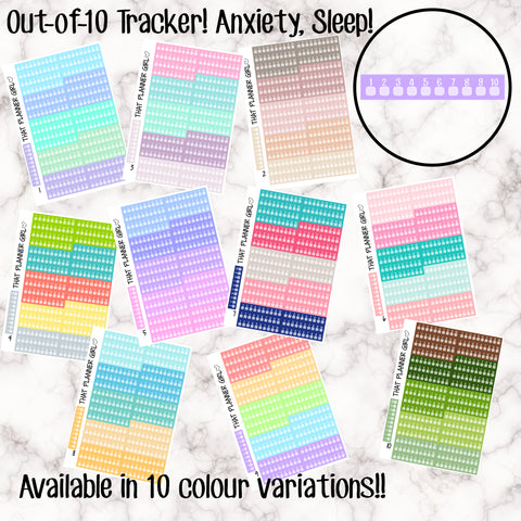 'Out-of-10' Trackers! Perfect for tracking Mood, Sleep, Anxiety, Stress etc!! Small and convenient for each day! 7 of each colour so you have the whole week!