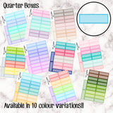 Quarter Boxes - 10 Colour Variations Available!! - 20 stickers per sheet! - use for appointments, meetings, events etc - Premium Matte