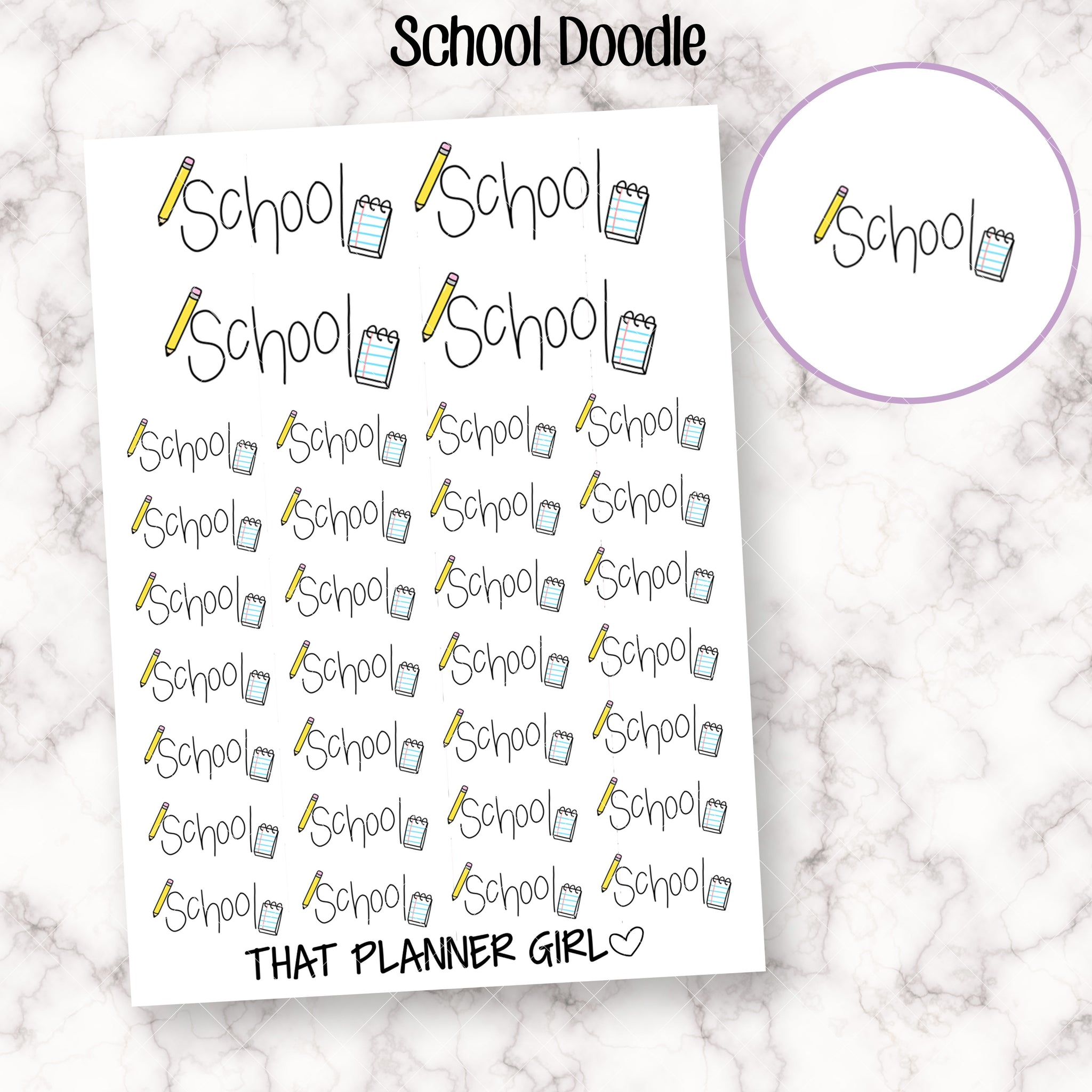 School Doodle Text with Icon Stickers