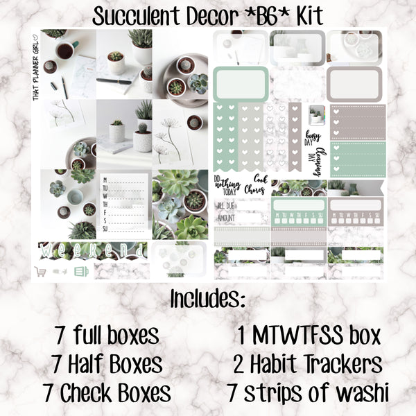 Succulent Decor - B6 Weekly Kit Stickers
