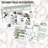 Succulent Decor - HORIZONTAL kit - Erin Condren Planner Stickers - full boxes, 1/2 boxes, washi, icons, weekend banner + more