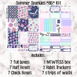 Summer Sparkles B6- Weekly Kit for the Number 5 Foxy Fix or B6 Planner -Folds to fit in your TN! EC sized boxes!