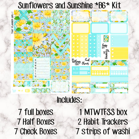 Sunflowers and Sunshine B6 Kit- Weekly Kit for the Number 5 Foxy Fix or B6 Planner -Folds to fit in your TN! EC sized boxes!