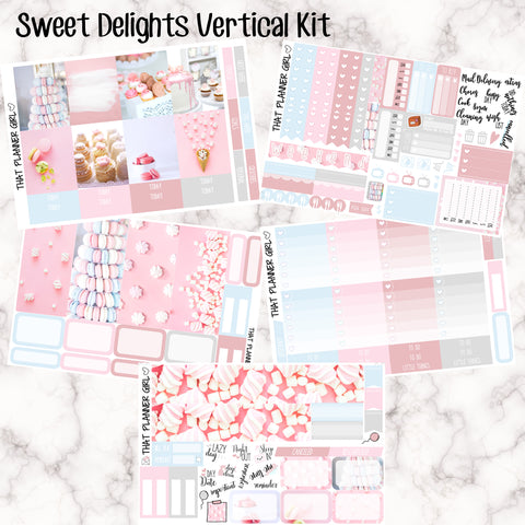 Sweet Delights - VERTICAL weekly kit - Individual sheets available or full kit!! Erin Condren Style Planner Stickers