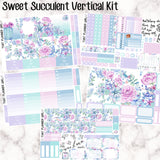 Sweet Succulent Kit - VERTICAL weekly kit - Individual sheets or full kit!! Erin Condren Style Planner Stickers