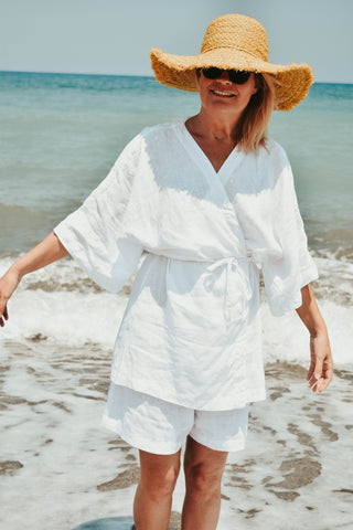 Linen clothes for women. Coverup in white linen.