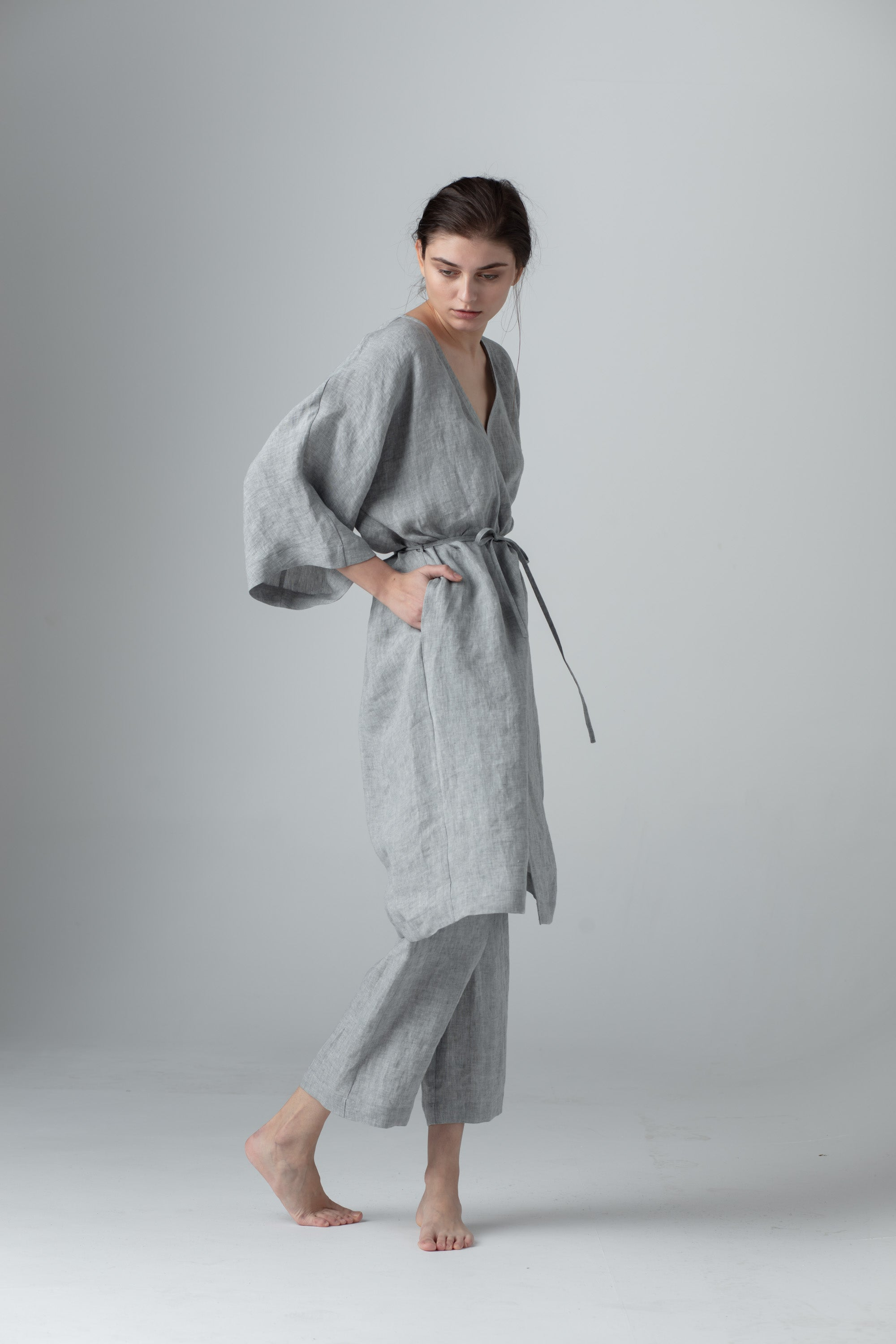 Light grey linen robe European linen