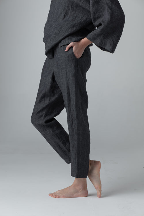 NARROW LINEN PANTS dark grey SC