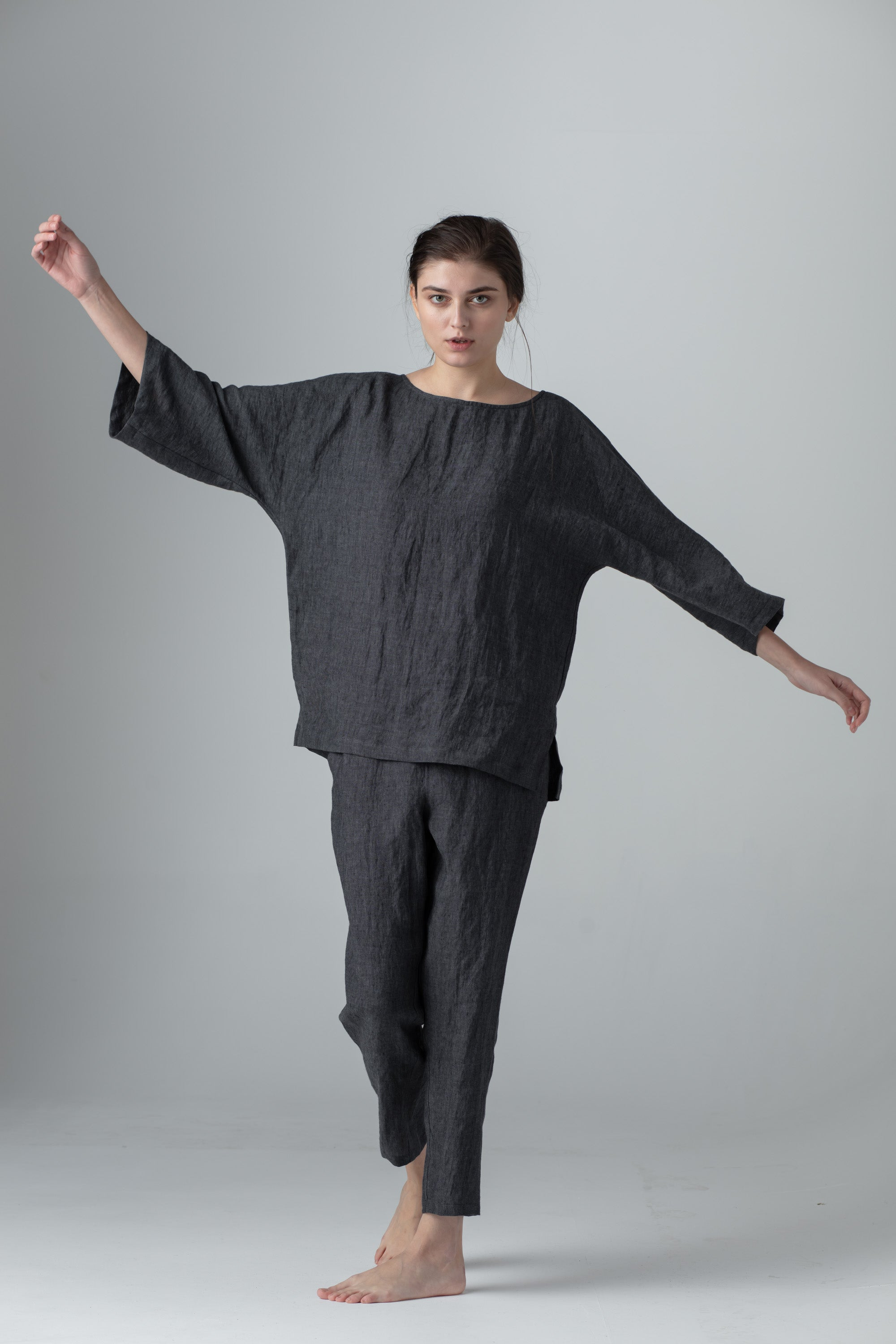 BATSLEEVE TOP dark grey