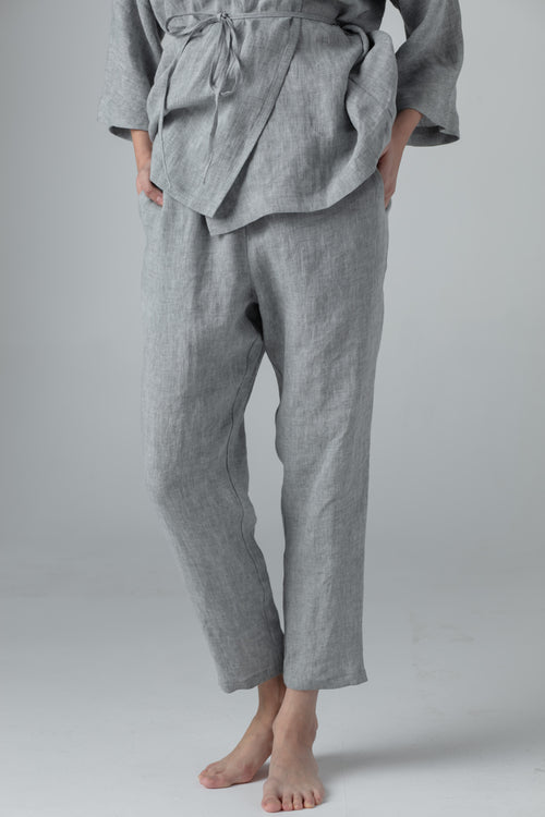 NARROW LINEN PANTS mid. grey SC