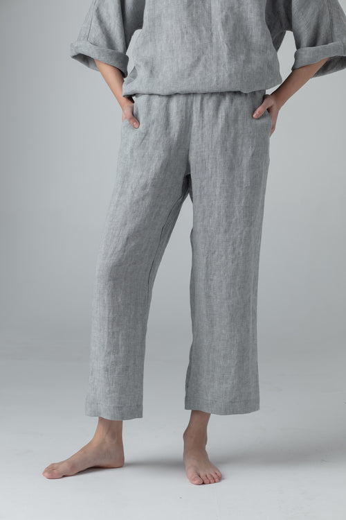 STRAIGHT LINEN PANTS mid. grey SC