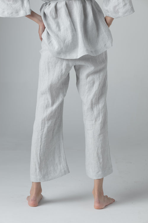 STRAIGHT LINEN PANTS light grey SC