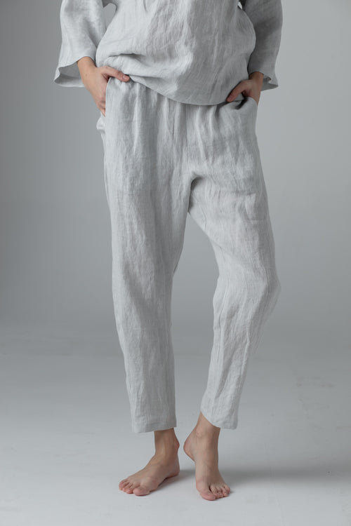 NARROW LINEN PANTS light grey SC