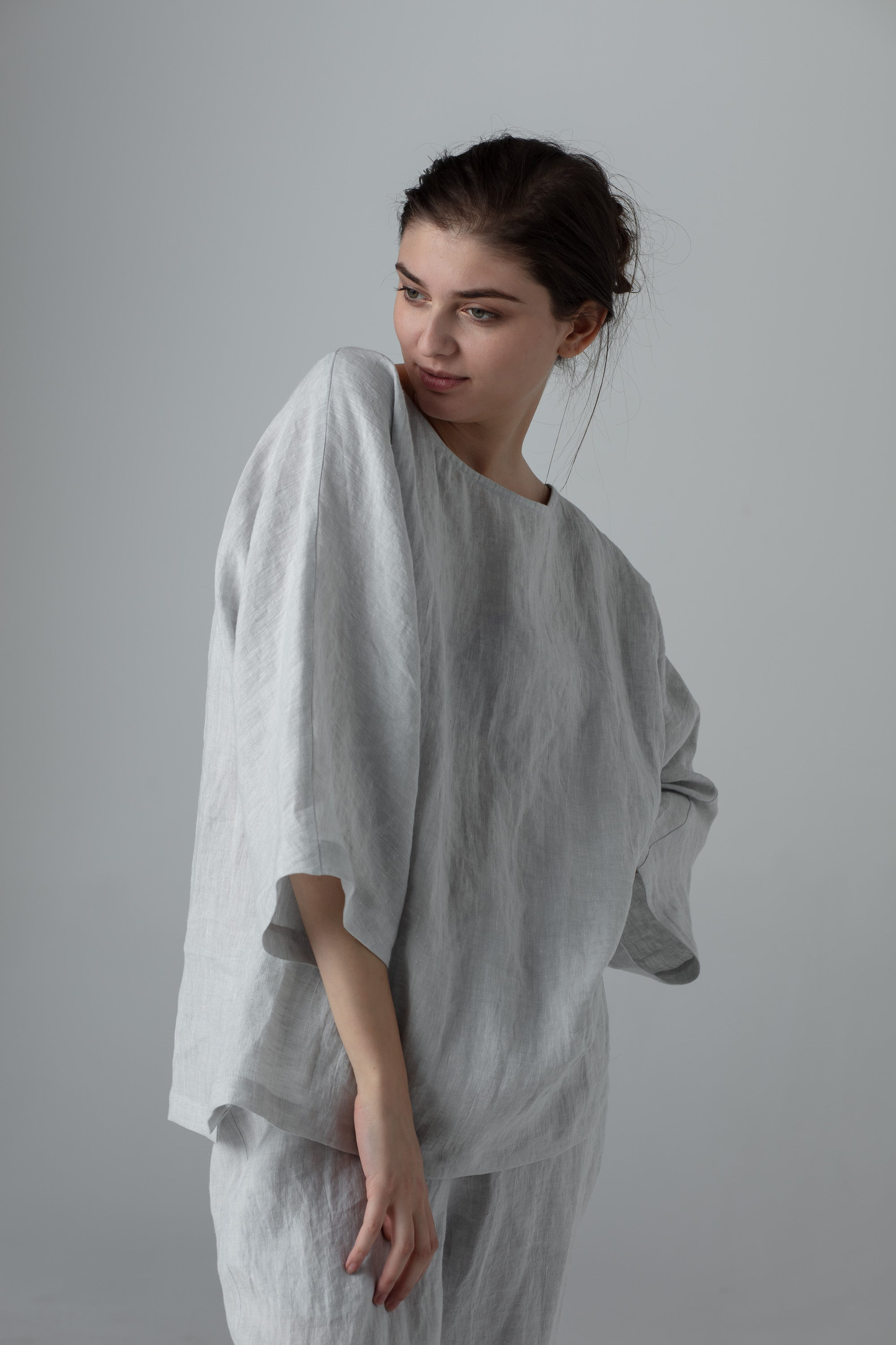 Linen casual batsleeve top