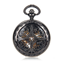 Steampunk Gunmetal Black Pocket Watch - AccessoiriserParfait