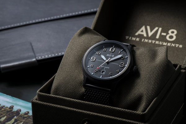 Avi-8 Flyboy Automatic Black Mesh Watch - AV-4021-44
