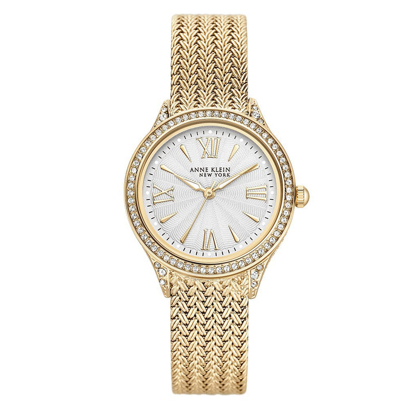 Anne Klein Gold Mesh with Swarovski Crystal Accents Women's Watch - 122290SVGB