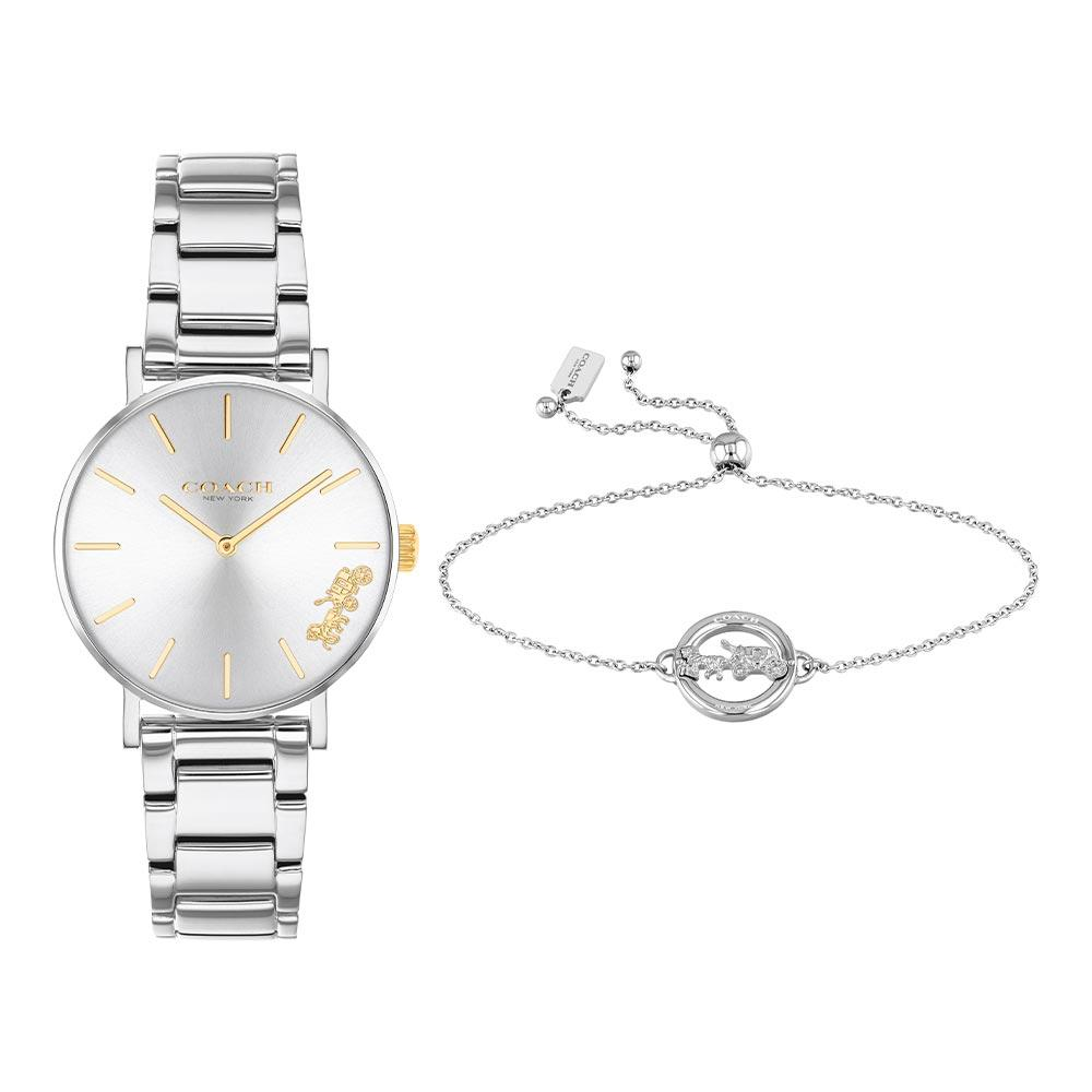 Coach Perry Ladies Silver Steel Watch with Self Adjustable Bracelet - 14000064