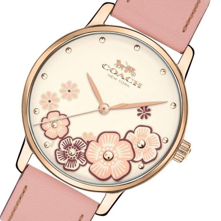 Coach Ladies Blush Pink Leather Grand Watch - 14503009