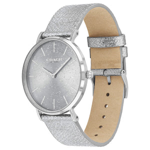 Coach Perry Metallic Silver Leather Ladies Watch - 14503323