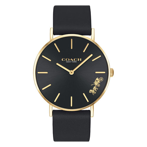 Coach Perry Black Leather Ladies Watch - 14503333