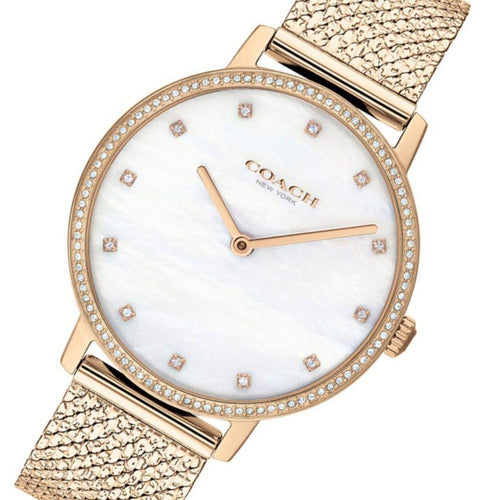 Coach Audrey Carnation Gold Mesh Ladies Slim Watch - 14503360