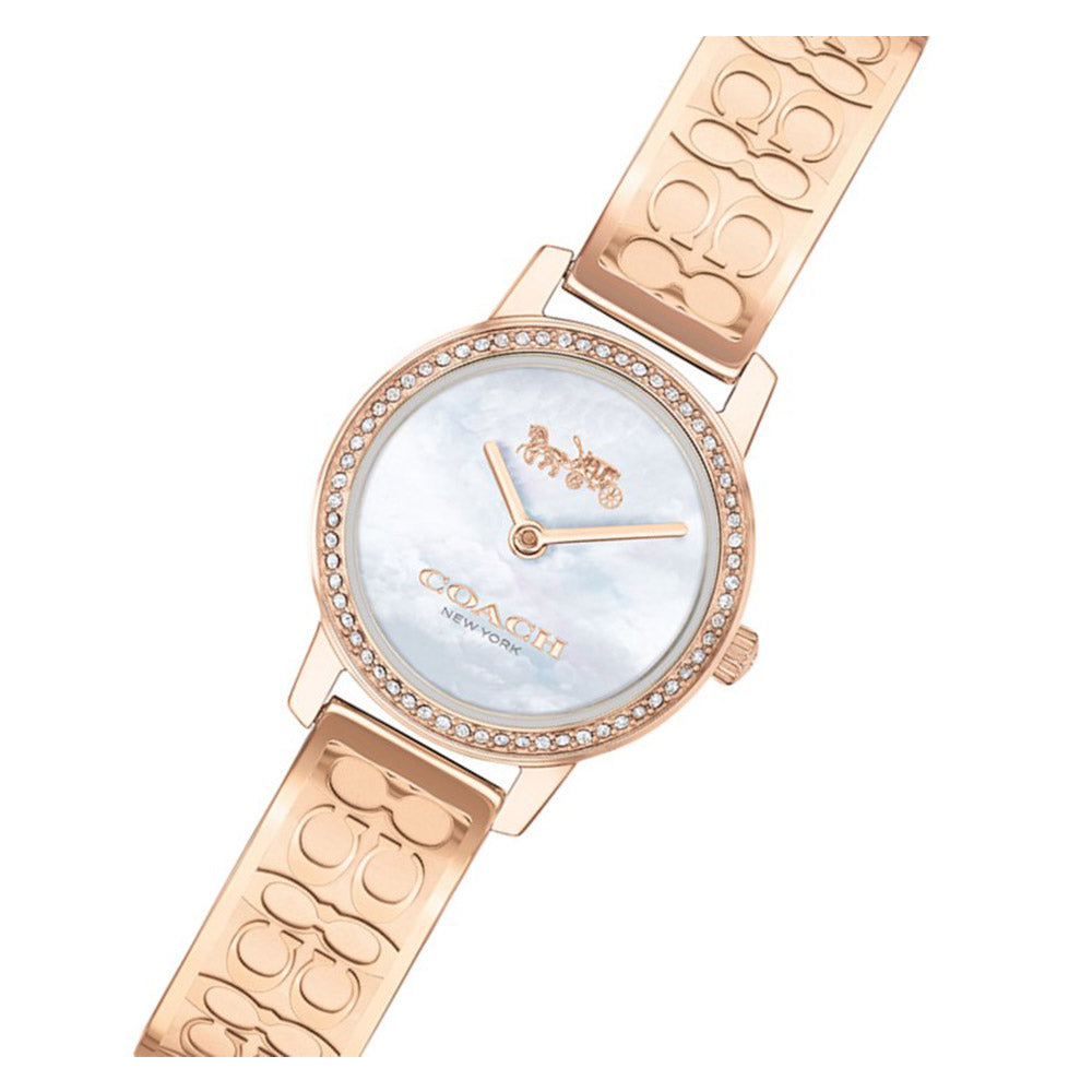 Coach Sigature C Rose Gold Steel with Swarovski Crystals Ladies Watch - 14503498