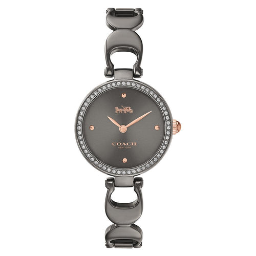 Coach Park Grey Steel Bracelet with Crystals Women's Watch - 14503565