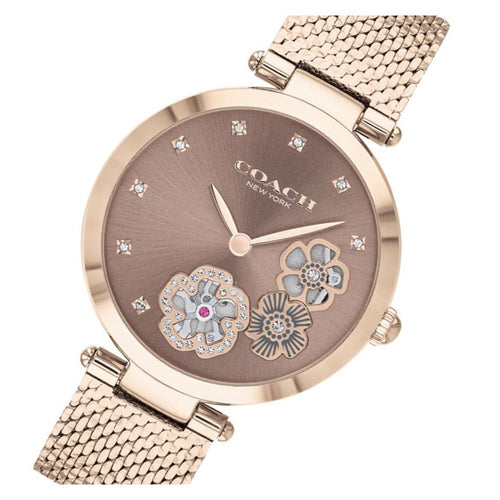 Coach Park Carnation Gold Mesh Ladies Multi-function Watch - 14503566