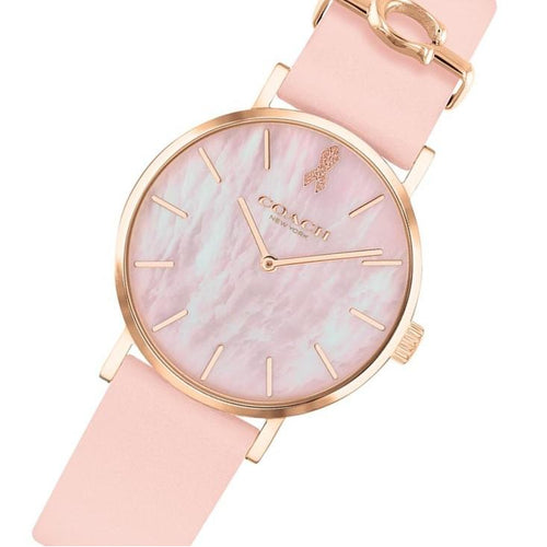 Coach Perry Pink Leather Women's Watch - 14503628