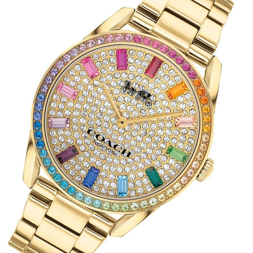 Coach Preston Rainbow Crystal and Gold Steel Women's Watch - 14503657