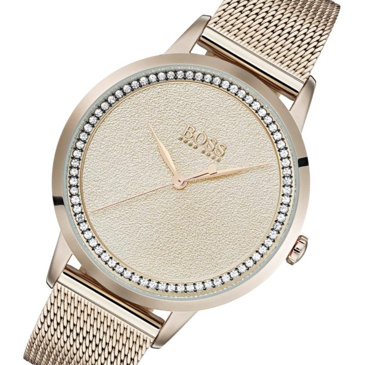 Hugo Boss Carnation Gold Mesh Ladies Watch - 1502464